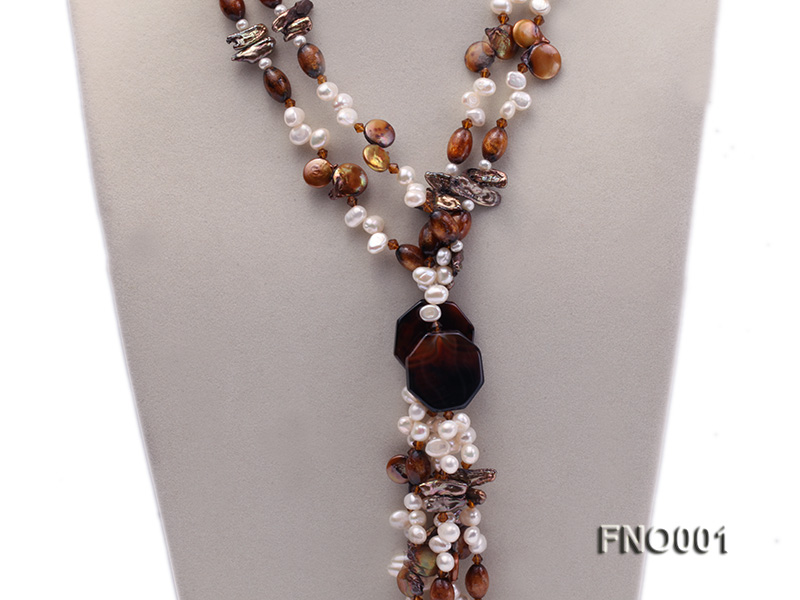 7x9.5mm white flat freshwater pearl and irregular pearl and golden coral necklace big Image 3