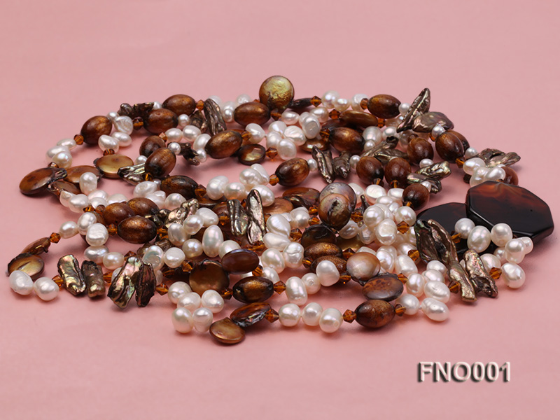 7x9.5mm white flat freshwater pearl and irregular pearl and golden coral necklace big Image 4