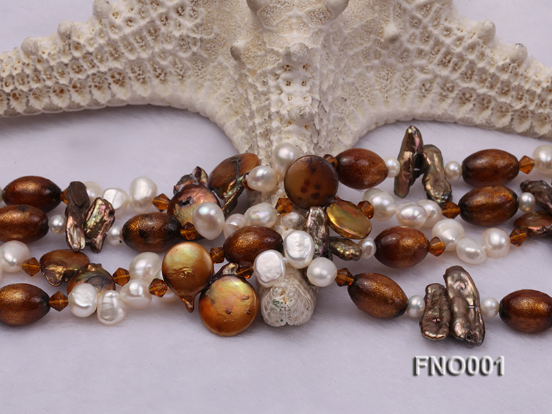 7x9.5mm white flat freshwater pearl and irregular pearl and golden coral necklace big Image 6