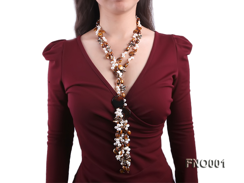 7x9.5mm white flat freshwater pearl and irregular pearl and golden coral necklace big Image 7