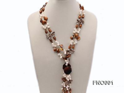 7x9.5mm white flat freshwater pearl and irregular pearl and golden coral necklace FNO001 Image 2