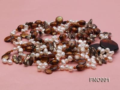 7x9.5mm white flat freshwater pearl and irregular pearl and golden coral necklace FNO001 Image 4