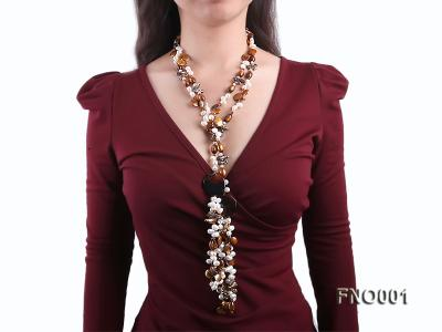 7x9.5mm white flat freshwater pearl and irregular pearl and golden coral necklace FNO001 Image 7