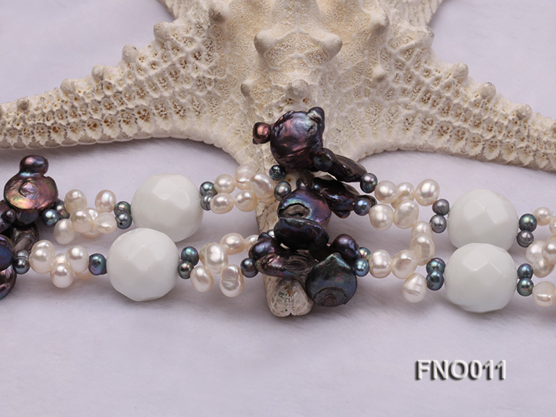 7x9.5mm white flat freshwater pearl and irregular pearl white turquoise necklace big Image 4
