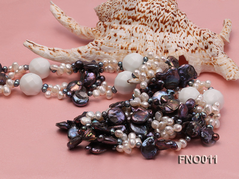7x9.5mm white flat freshwater pearl and irregular pearl white turquoise necklace big Image 5