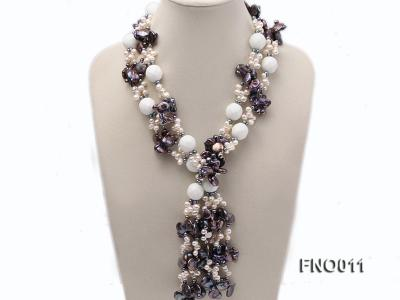 7x9.5mm white flat freshwater pearl and irregular pearl white turquoise necklace FNO011 Image 1