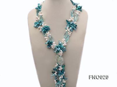 7x9.5mm white flat freshwater and blue irregular pearls necklace FNO020 Image 1