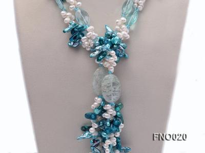 7x9.5mm white flat freshwater and blue irregular pearls necklace FNO020 Image 2