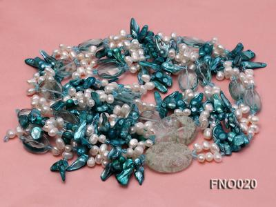 7x9.5mm white flat freshwater and blue irregular pearls necklace FNO020 Image 3