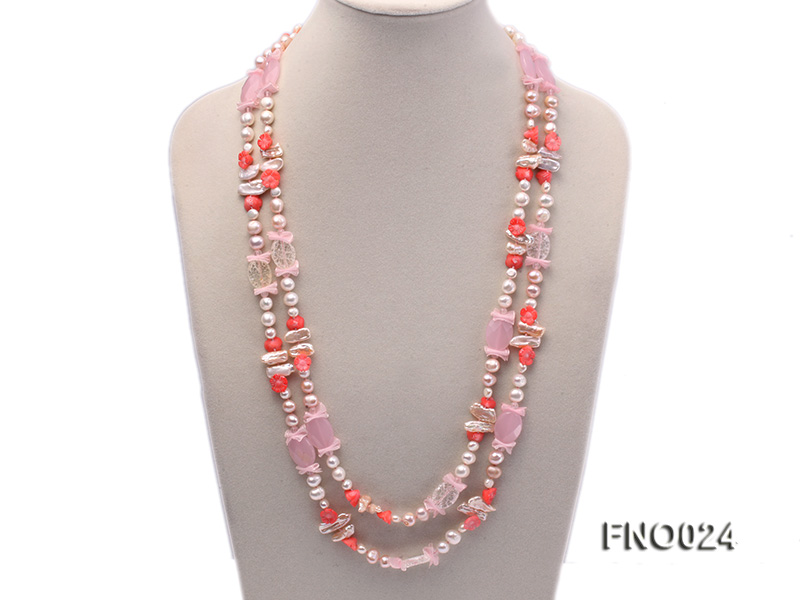 8-9mm white and purple flat freshwater pearl and crystal  and flower coral and rose quartz big Image 1