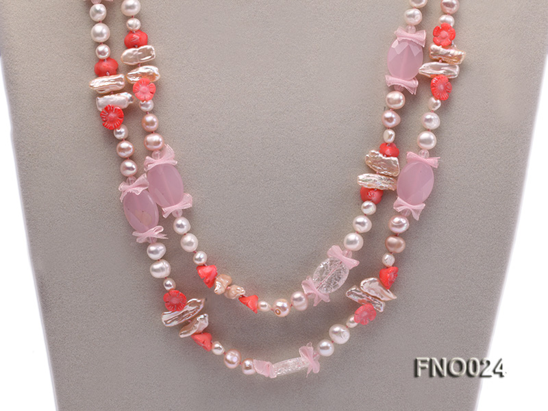 8-9mm white and purple flat freshwater pearl and crystal  and flower coral and rose quartz big Image 2