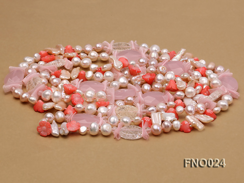 8-9mm white and purple flat freshwater pearl and crystal  and flower coral and rose quartz big Image 3