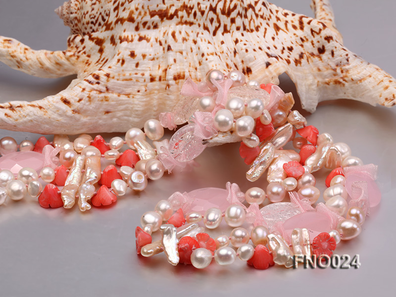 8-9mm white and purple flat freshwater pearl and crystal  and flower coral and rose quartz big Image 4