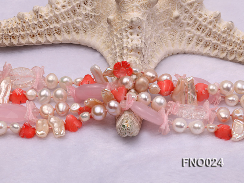 8-9mm white and purple flat freshwater pearl and crystal  and flower coral and rose quartz big Image 5