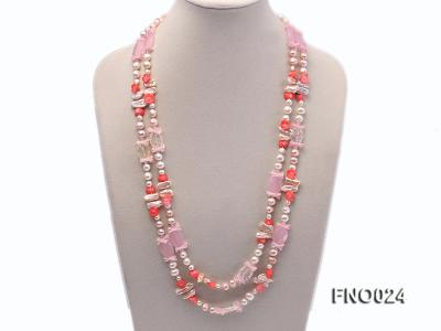 8-9mm white and purple flat freshwater pearl and crystal  and flower coral and rose quartz FNO024 Image 1