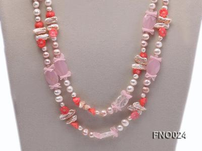 8-9mm white and purple flat freshwater pearl and crystal  and flower coral and rose quartz FNO024 Image 2