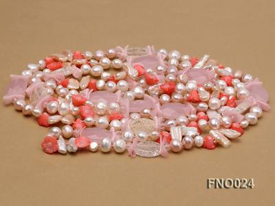 8-9mm white and purple flat freshwater pearl and crystal  and flower coral and rose quartz FNO024 Image 3