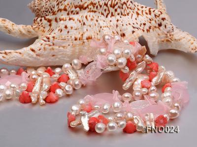 8-9mm white and purple flat freshwater pearl and crystal  and flower coral and rose quartz FNO024 Image 4