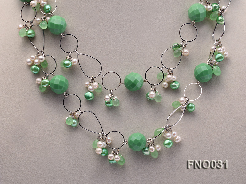 5-6mm white and green flat freshwater pearl and turquoise and crystal necklace big Image 3