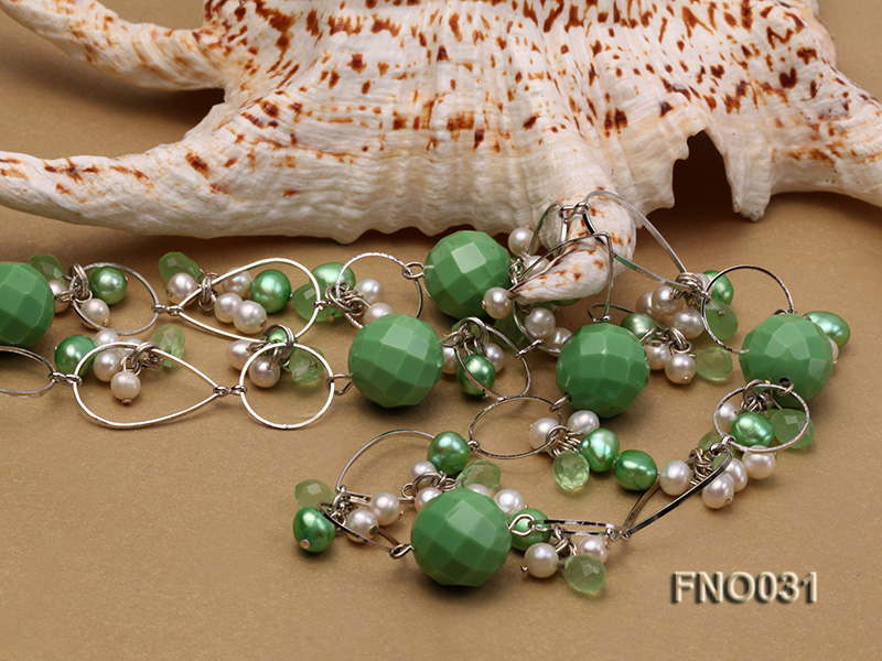 5-6mm white and green flat freshwater pearl and turquoise and crystal necklace big Image 5