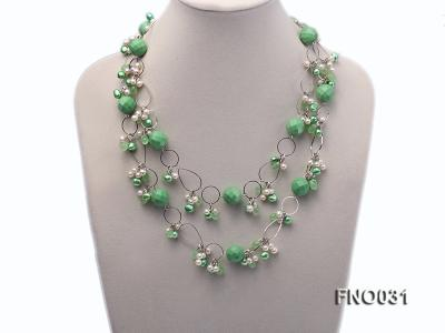 5-6mm white and green flat freshwater pearl and turquoise and crystal necklace FNO031 Image 2