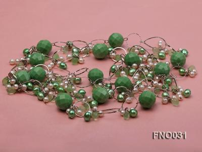 5-6mm white and green flat freshwater pearl and turquoise and crystal necklace FNO031 Image 4