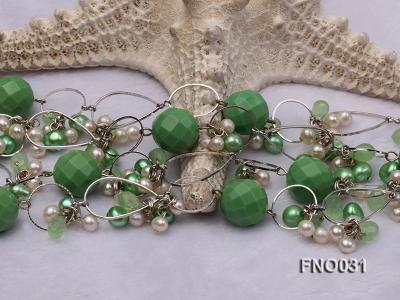 5-6mm white and green flat freshwater pearl and turquoise and crystal necklace FNO031 Image 6