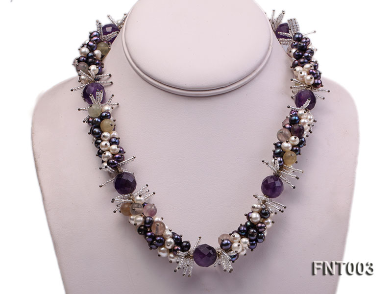 6-7mm White & Purple Freshwater Pearl and Amethyst Beads Necklace, Bracelet and Earrings Set big Image 2