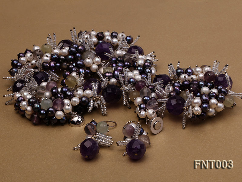 6-7mm White & Purple Freshwater Pearl and Amethyst Beads Necklace, Bracelet and Earrings Set big Image 3