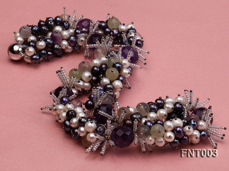 6-7mm White & Purple Freshwater Pearl and Amethyst Beads Necklace, Bracelet and Earrings Set big Image 4