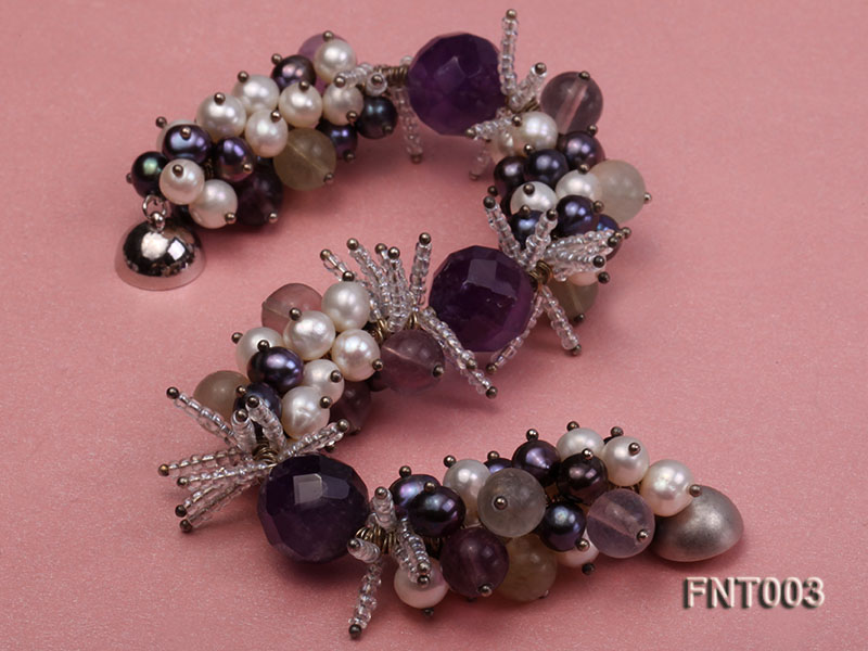 6-7mm White & Purple Freshwater Pearl and Amethyst Beads Necklace, Bracelet and Earrings Set big Image 5