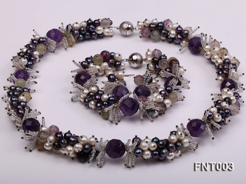 6-7mm White & Purple Freshwater Pearl and Amethyst Beads Necklace, Bracelet and Earrings Set big Image 7