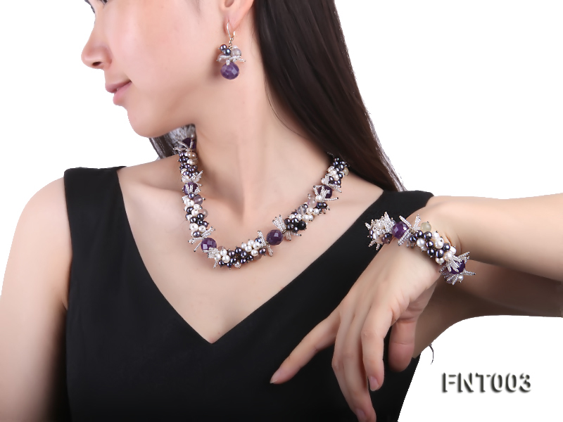 6-7mm White & Purple Freshwater Pearl and Amethyst Beads Necklace, Bracelet and Earrings Set big Image 8