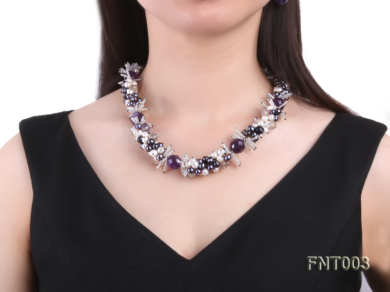 6-7mm White & Purple Freshwater Pearl and Amethyst Beads Necklace, Bracelet and Earrings Set big Image 9