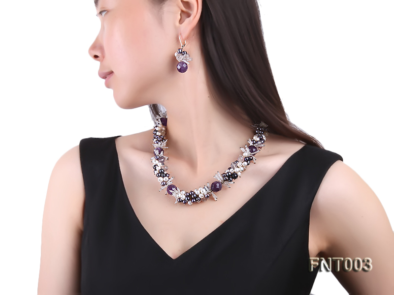 6-7mm White & Purple Freshwater Pearl and Amethyst Beads Necklace, Bracelet and Earrings Set big Image 10