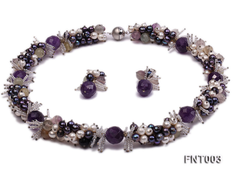 6-7mm White & Purple Freshwater Pearl and Amethyst Beads Necklace, Bracelet and Earrings Set big Image 1