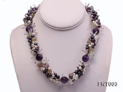 6-7mm White & Purple Freshwater Pearl and Amethyst Beads Necklace, Bracelet and Earrings Set FNT003 Image 2