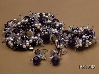 6-7mm White & Purple Freshwater Pearl and Amethyst Beads Necklace, Bracelet and Earrings Set FNT003 Image 3