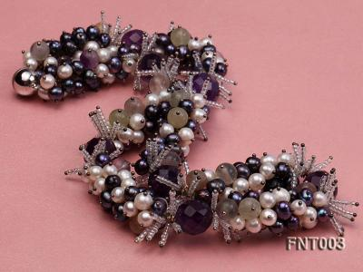 6-7mm White & Purple Freshwater Pearl and Amethyst Beads Necklace, Bracelet and Earrings Set FNT003 Image 4