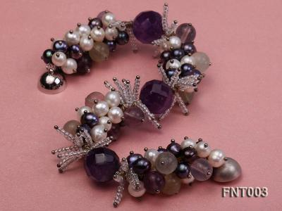 6-7mm White & Purple Freshwater Pearl and Amethyst Beads Necklace, Bracelet and Earrings Set FNT003 Image 5