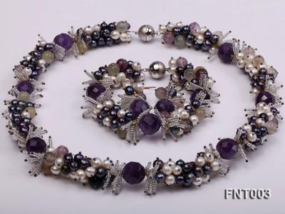 6-7mm White & Purple Freshwater Pearl and Amethyst Beads Necklace, Bracelet and Earrings Set FNT003 Image 7