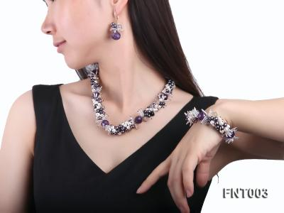 6-7mm White & Purple Freshwater Pearl and Amethyst Beads Necklace, Bracelet and Earrings Set FNT003 Image 8