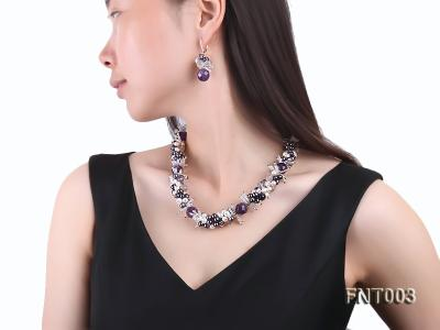 6-7mm White & Purple Freshwater Pearl and Amethyst Beads Necklace, Bracelet and Earrings Set FNT003 Image 10