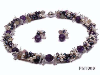 6-7mm White & Purple Freshwater Pearl and Amethyst Beads Necklace, Bracelet and Earrings Set FNT003 Image 1