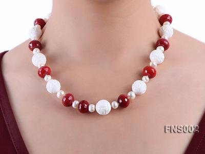 7x9mm white round freshwater pearl with red gemstone and natural tridaonidae necklace FNS002 Image 6