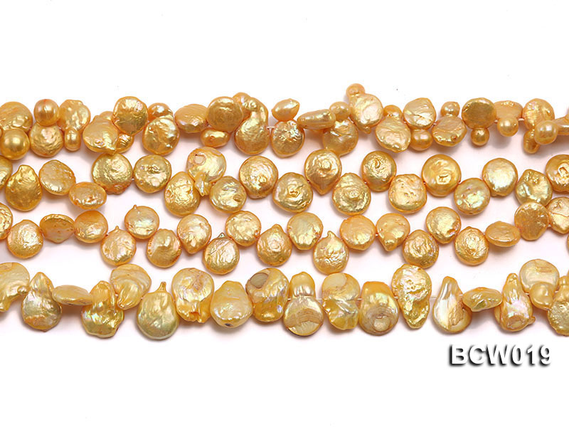Wholesale 11x15mm Golden Irregular Cultured Freshwater Pearl String big Image 2