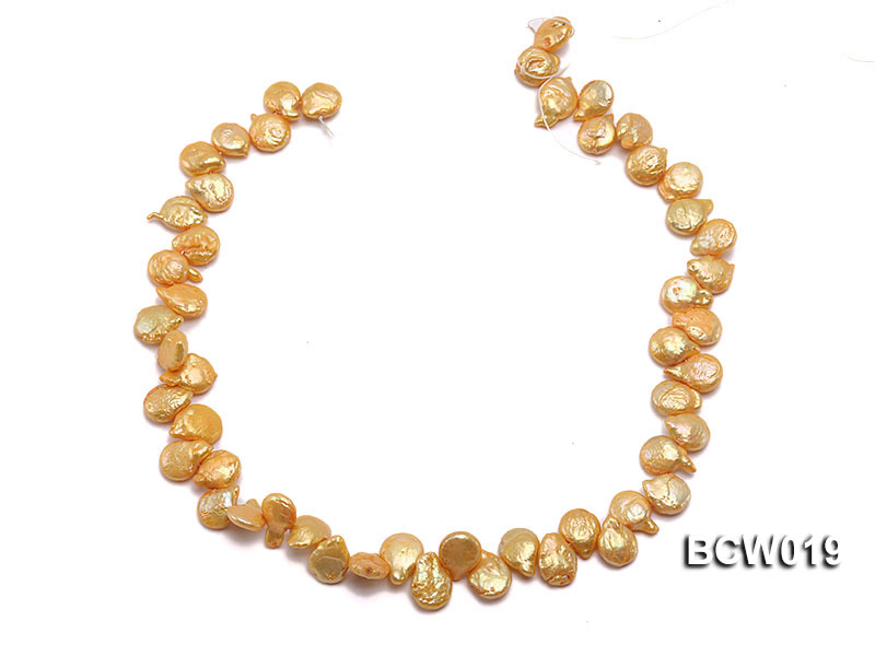 Wholesale 11x15mm Golden Irregular Cultured Freshwater Pearl String big Image 3
