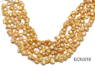 Wholesale 11x15mm Golden Irregular Cultured Freshwater Pearl String BCW019 Image 1