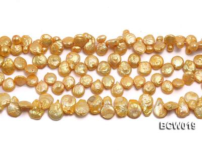 Wholesale 11x15mm Golden Irregular Cultured Freshwater Pearl String BCW019 Image 2