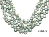 Wholesale 11-12mm Apple Green Button-shaped Cultured Freshwater Pearl String BCW061